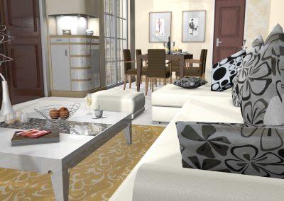 Wohnzimmer mit Blick auf das Esszimmer