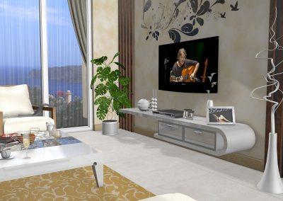 Wohnzimmer Blick auf TV-Ecke